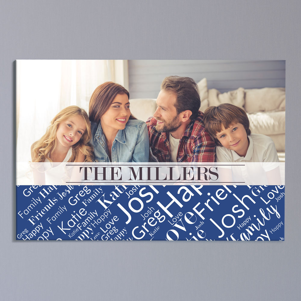 Personalized Family Word-Art 20x30 Horizontal Canvas | Photo Art