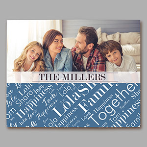 Personalized Family Photo Word-Art Horizontal Canvas | Photos To Canvas Art
