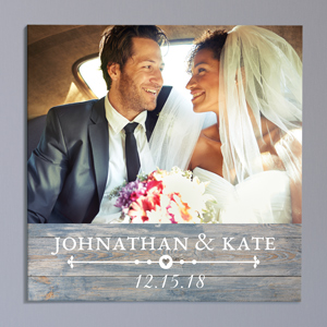 Personalized Rustic Photo Wall Canvas | Personalized Wedding Canvas Art