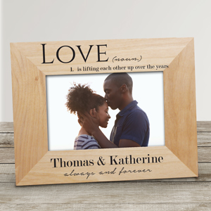 Personalized Love Definition Wood Frame | Personalized Valentine Picture Frames