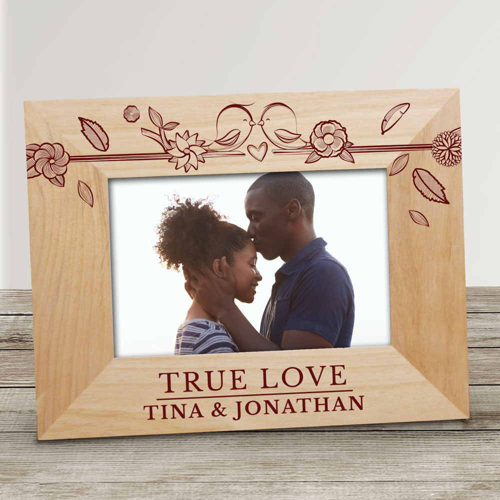 Personalized True Love Birds Wood Frame | Personalized Valentine Picture Frames