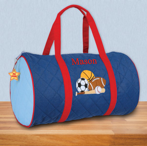 Personalized Quilted Sports Duffle Bag | Personalized Bags For Kids