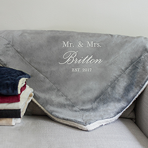 Embroidered Mr and Mrs Sherpa Blanket