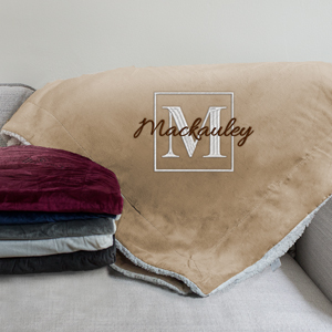 Embroidered Family Name Sherpa Blanket Blanket | Personalized Blankets