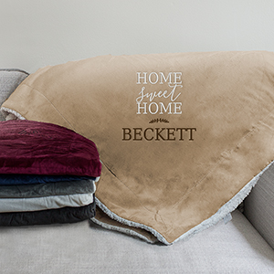 Embroidered Home Sweet Home Sherpa Blanket | Personalized Sherpa Blanket
