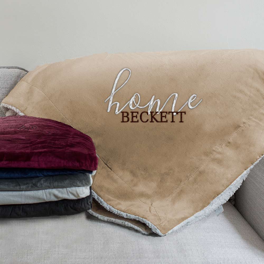 Embroidered Home Sherpa Blanket | Personalized Blankets