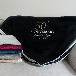 Embroidered Anniversary Sherpa Blanket | Personalized Throw Blankets