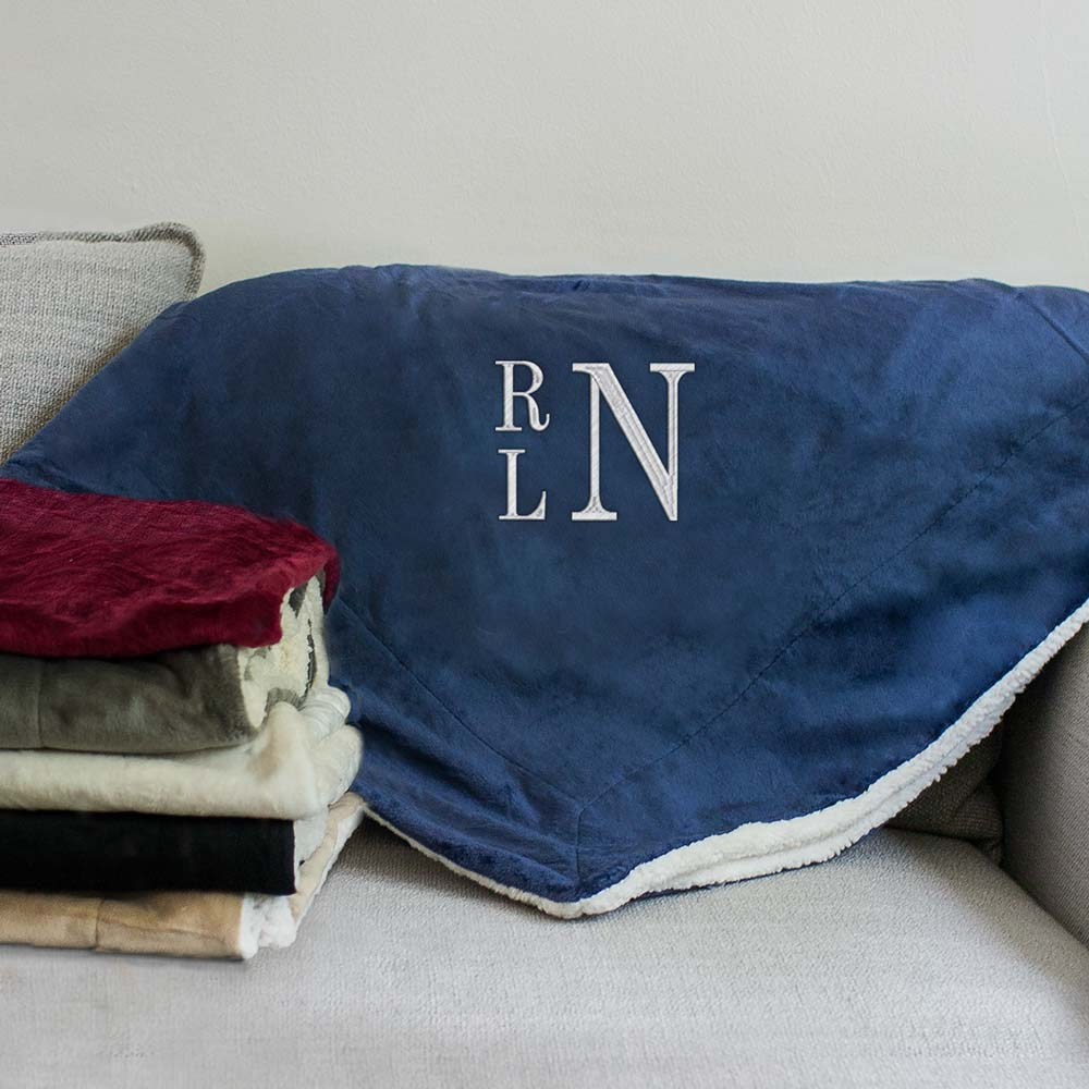Embroidered Stacked Monogram Sherpa Blanket | Personalized Sherpa Blankets