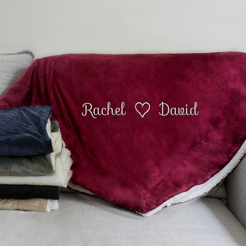 Embroidered Couples Heart Sherpa Blanket | Valentines Personalized Blankets