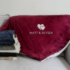 Double Heart Embroidered Sherpa Blanket | Personalized Valentines Gifts