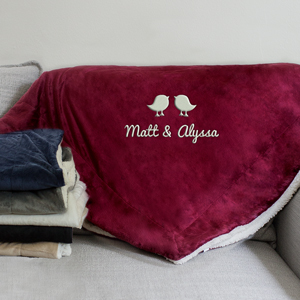 Embroidered Couples Birds Sherpa Blanket | Personalized Couples Gifts