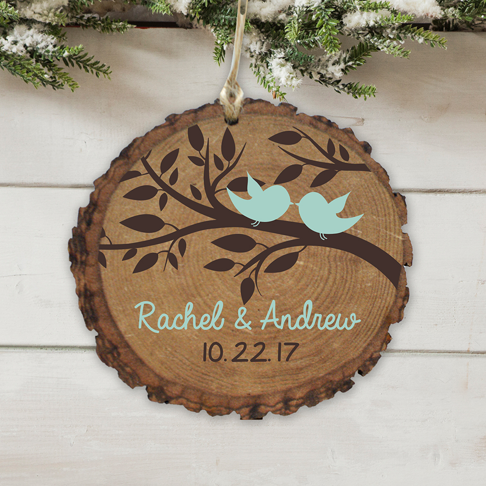 Personalized Love Birds Wood Ornament | Personalized Couples Ornaments