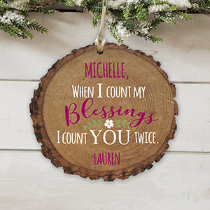 Personalized Count My Blessings Wood Ornament | Personalized Christmas Ornaments
