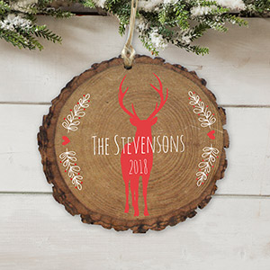 Personalized Holiday Deer Wood Ornament | Personalized Family Ornaments