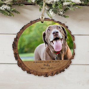 Personalized Furever In Our Hearts Wood Ornament | Dog Memorial Ornaments