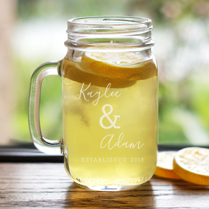 Engraved Established Mason Jar | Personalized Mason Jars For Wedding