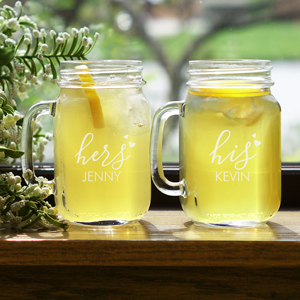 Engraved Couples Mason Jar Set | Engraved Mason Jars For Wedding