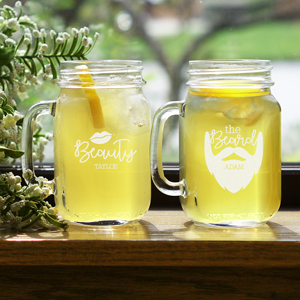 Engraved Beauty and The Beard Mason Jar Set | Valentine Personalized Mason Jars