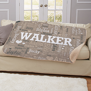 Personalized Family Name Word-Art 50x60 Sherpa Blanket | Word-Art Personalized Blankets