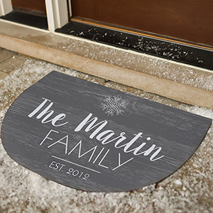 Personalized Snowflake Wood Grain Doormat | Personalized Doormats