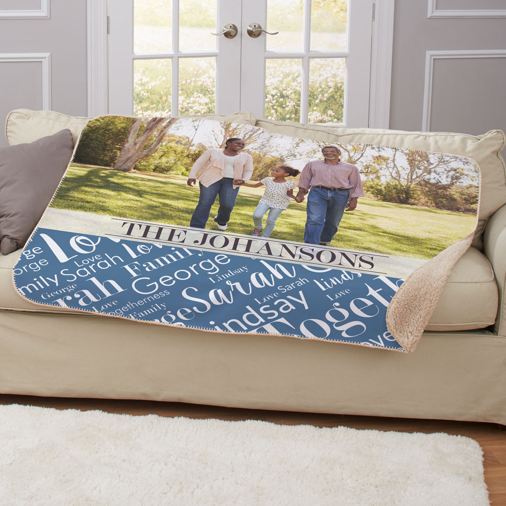 Family Photo Word Art Sub Horizontal 50 x 60 Sherpa | Photo Blankets