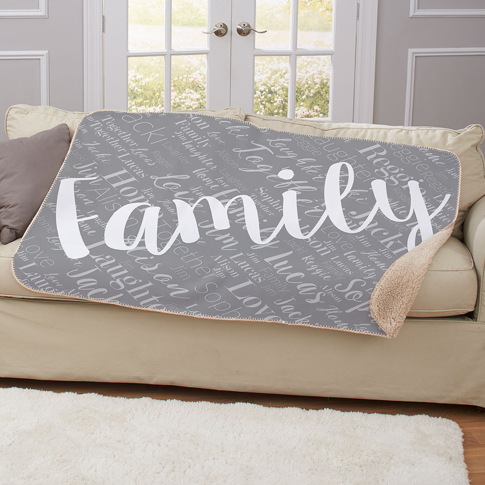Personalized Family Word-Art 50x60 Sherpa Blanket | Word-Art Personalized Blankets