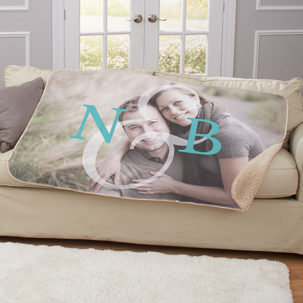 Personalized Initial Couples Photo Sherpa Blanket | Personalized Couple Gifts