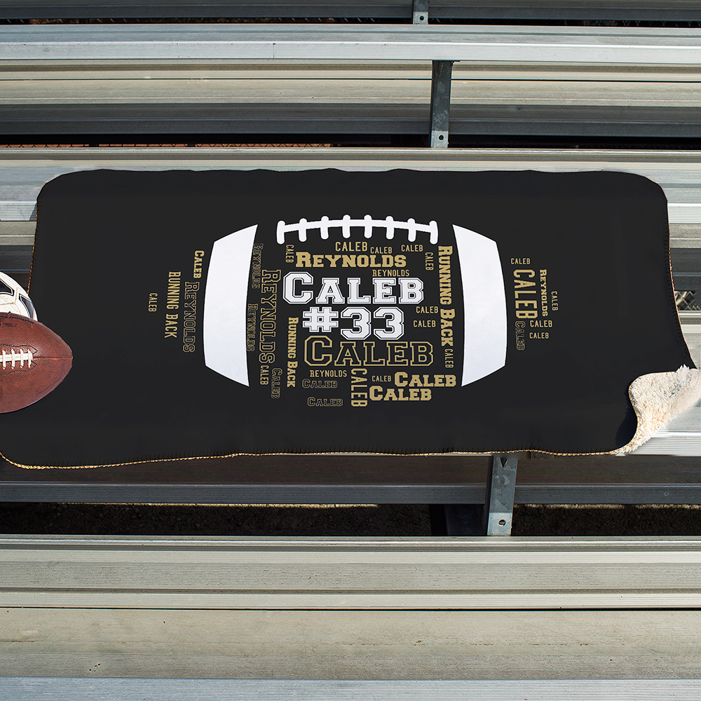 Personalized Football Word-Art Sherpa | Personalized Stadium Blankets