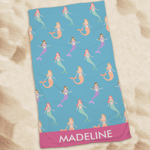 Personalized Mermaids Beach Towel