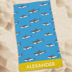 Personalized Sharks Beach Towel