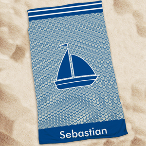 Personalized Sail Boat Beach Towel