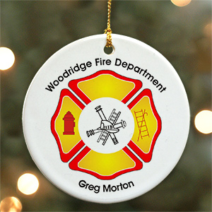 Fire Department Personalized Ceramic Ornament | Personalized Firefighter Ornaments