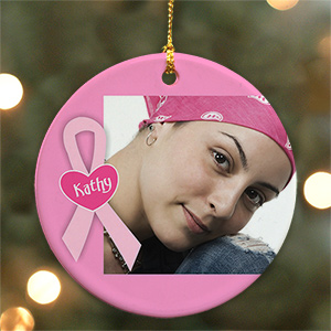 Ceramic Breast Cancer Photo Ornament | Picture Ornaments