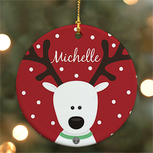 Reindeer ceramic Christmas Ornament