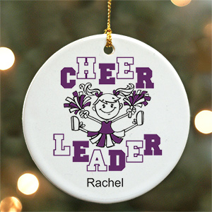 Personalized Ceramic Cheerleader Ornament | Personalized Christmas Ornaments for Kids