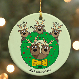 Personalized Ceramic Holiday Reindeer Family Ornament