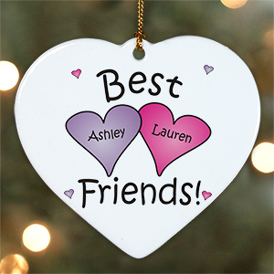 Personalized Best Friends Heart Ornament