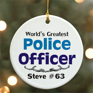 World's Greatest Police Officer Personalized Ceramic Ornament U375510