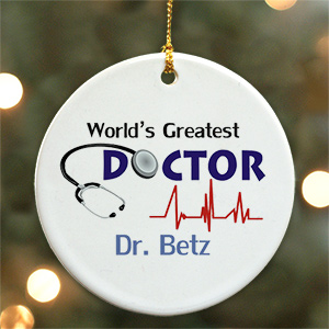 World's Greatest Doctor Personalized Ceramic Ornament U375610