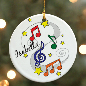 Personalized Ceramic Music Notes Ornament U376010