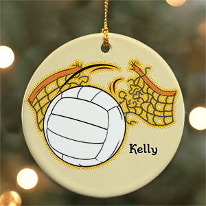 Personalized Ceramic Volleyball Ornament | Personalized Volleyball Ornament