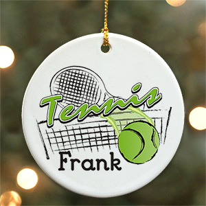 Personalized Ceramic Tennis Ornament U376410