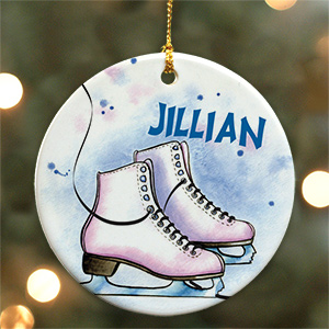 Personalized Ceramic Ice Skating Ornament