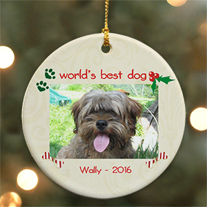 Personalized Ceramic Dog Photo Ornament U442610