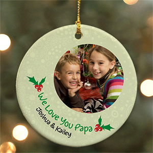 Personalized Ceramic Holly Photo Ornament U444110