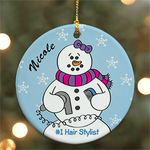 Personalized Ceramic Hairstylist Snowman Ornament U449610