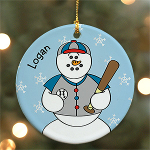 Personalized Ceramic Baseball Snowman Ornament U449810