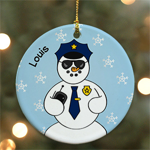 Personalized Ceramic Police Snowman Ornament U450610