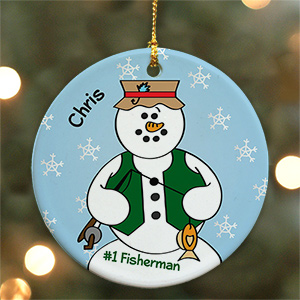 Personalized Ceramic Fisherman Snowman Ornament | Personalized Fishing Ornaments