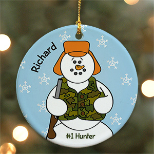 U450910 Personalized Ceramic Hunter Snowman Ornament